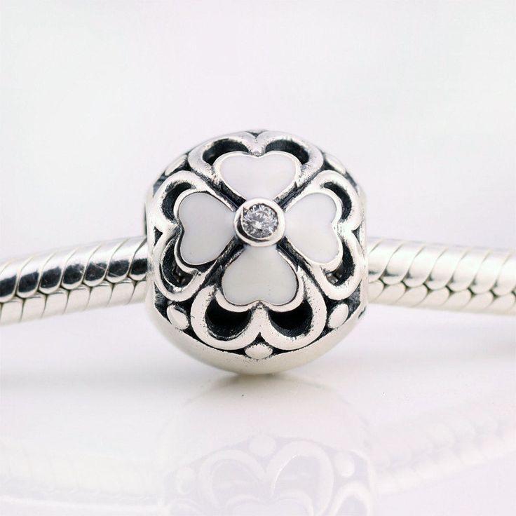 Fiore Margherita smalto bianco zirconi chiari 100% argento sterling 925 adatta misure Pandora charm Pandora bead Braccialetto europeo P-813 di OceanBijoux su Etsy