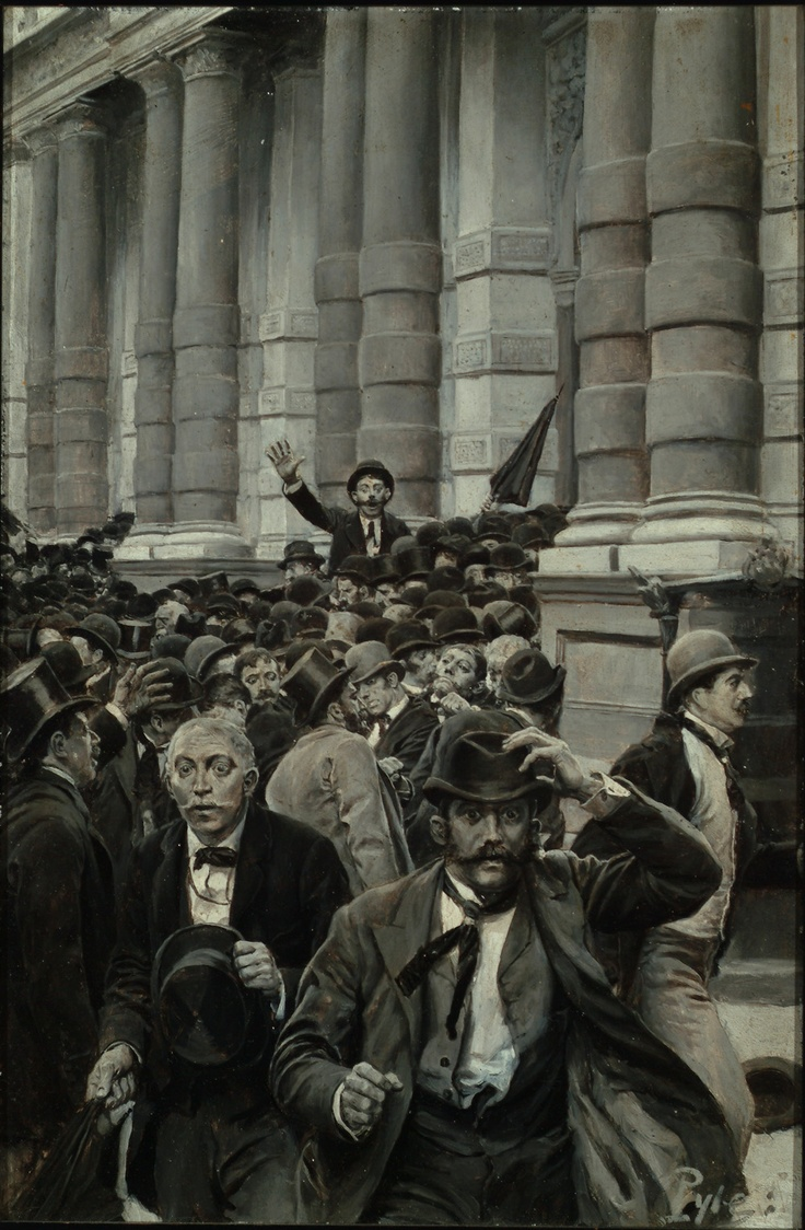 """The Rush from the New York Stock Exchange on September 18, 1873,"" by Howard Pyle, Delaware Art Museum"