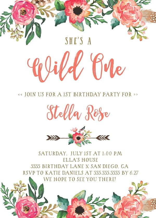 wild one invitation girl boho