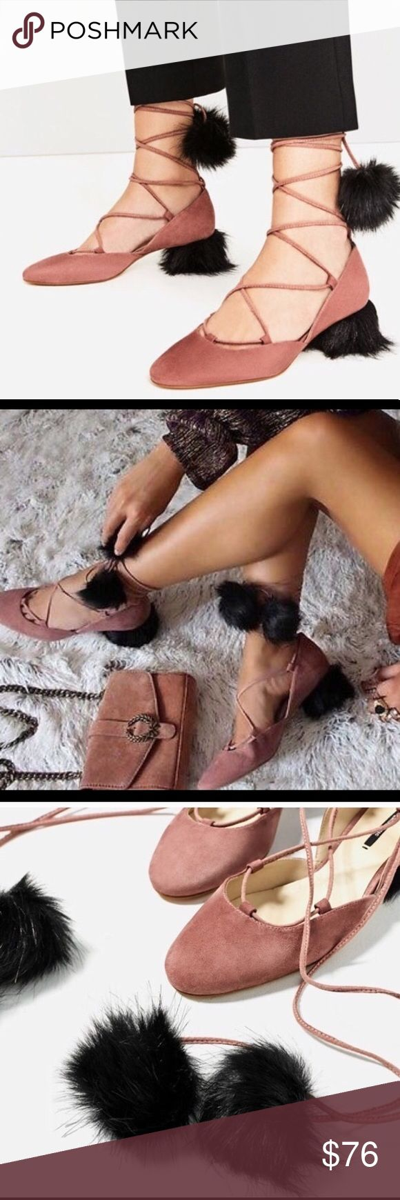 GIFT ALERT Zara Suede Sandals with Pom Pom Suede lace up tasseled mid heel shoes! Pink medium sided heel shoe.  Heel lined with synthetic fur. Laces with pompom!!! Rounded toe! Ankle strap fastening!  NWT and box!!!Perfect gift idea or holiday shoe! Sold out!! Zara Shoes Sandals
