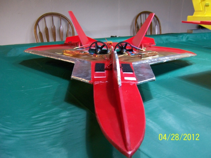 A Twin 64mm Ducted Fan F22 Silhouette Jet Made From Plans