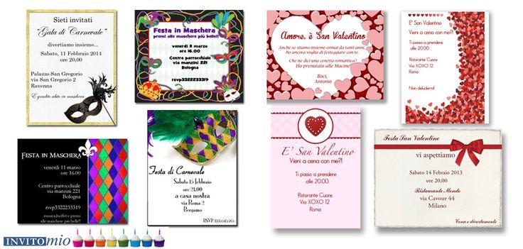 www.invitomio.it  Crea i biglietti personalizzati per Carnevale o San Valentino. Spedisci questi inviti via email GRATUITAMENTE!  oppure stampa il tuo invito personalizzato a casa. Un pizzico di tecnologia e tanto divertimento per rendere le tue feste immancabili!!