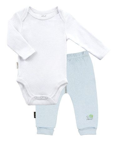 Look at this #zulilyfind! White Long-Sleeve Bodysuit & Blue Pants by Kushies #zulilyfinds