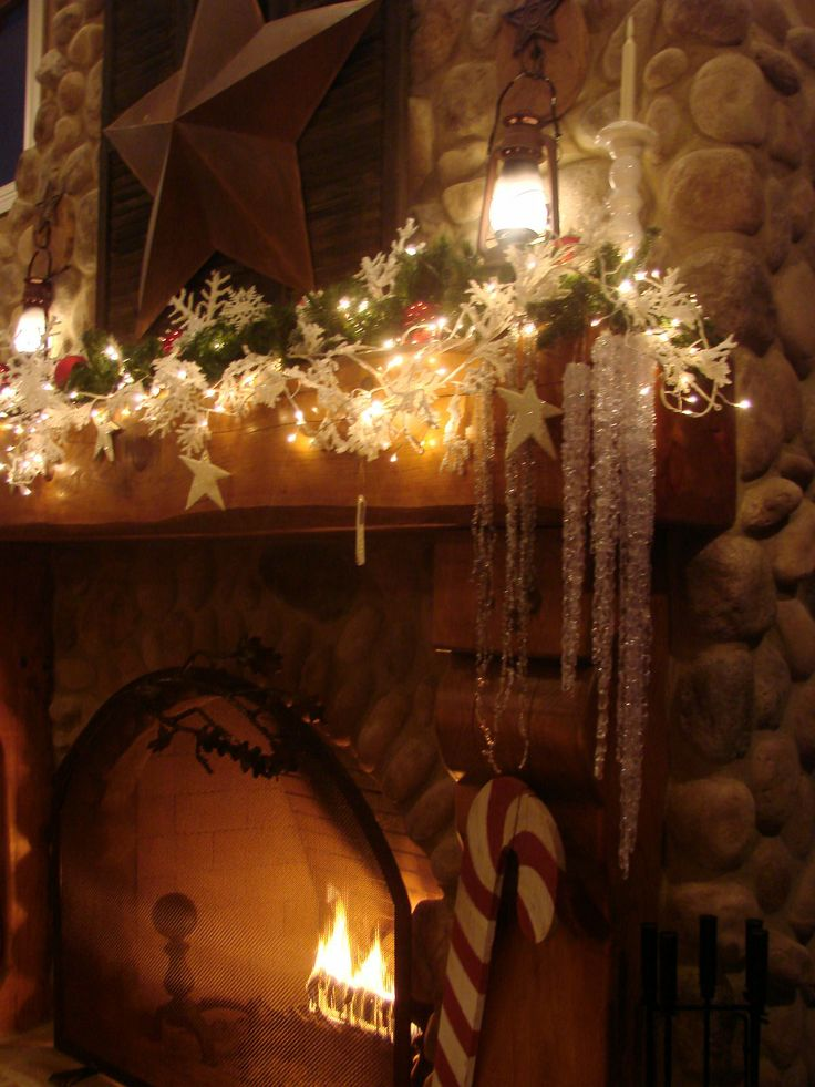 White sparkly snowflakes, shimmering stars, the twinkle of tiny lights, icicles dripping, and a warm, crackling fire.