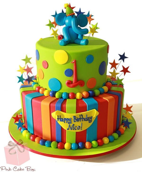 1st Birthday Boy's Elephant Cake by Pink Cake Box