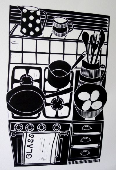 'Cooking with Eggs' by jan brewerton Edition of 50 Lino print on 220grms paper 26.5cm x 17.5cm