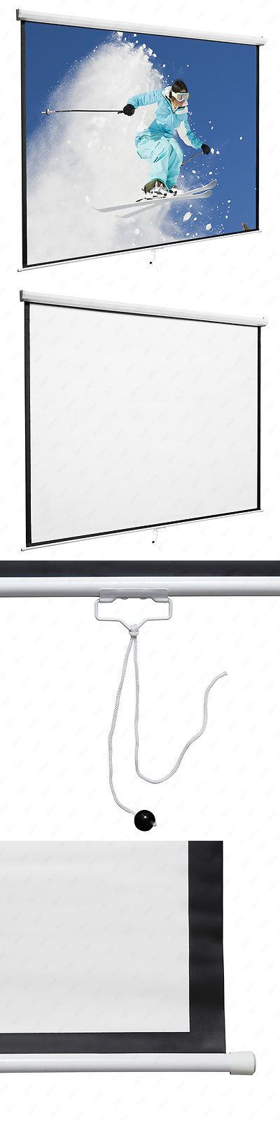 Projection Screens and Material: 120 1:1 Portable Manual Projector Screen Pull Down Screen Home Movie Theater -> BUY IT NOW ONLY: $39.9 on eBay!