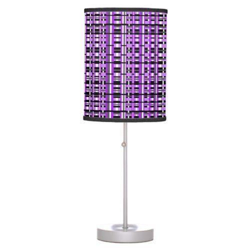 Plaid in Purple, Black & Gray Desk Lamp