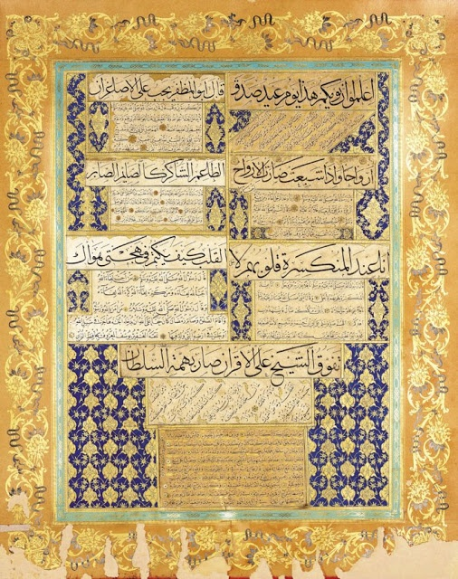 These compositions are signed by several of the most highly reputed Ottoman calligraphers: Seyh Hamdullah, Hafiz Osman, Hafiz Yusuf, Mehmed Rasim and Mahmud Celaluddin.
