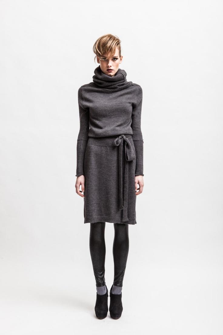 Grey alpaca wool blend turtleneck dress from CODE TRICOT