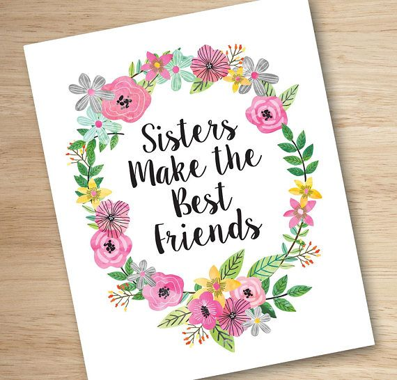 Sisters Wall Art Sisters Print Twin Wall Art Sisters Make The Best Friends Sisters Room Decor Printable Sisters Wall Art Girls Room Wall Art Twin Wall Art