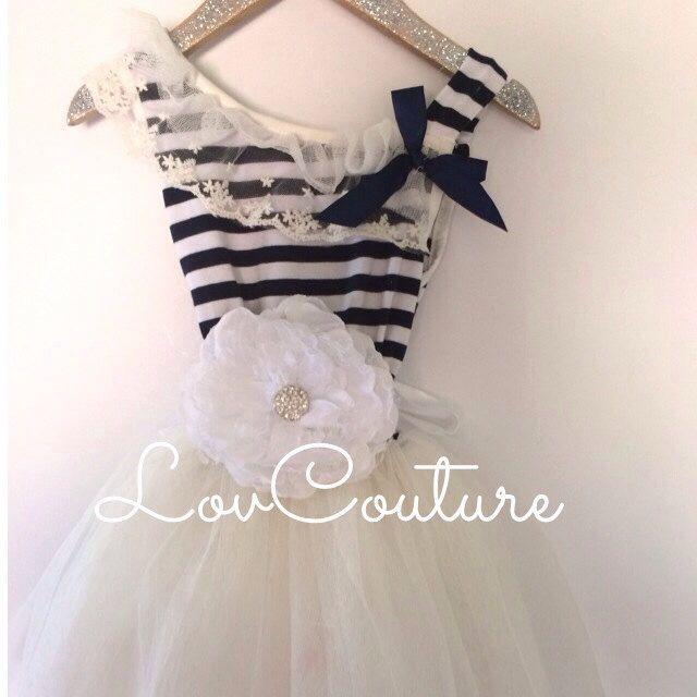 Nautical Summer Dress. USN Navy Wedding Flower Girl Tulle Dress by LovCouture on Etsy https://www.etsy.com/listing/188132507/nautical-summer-dress-usn-navy-wedding