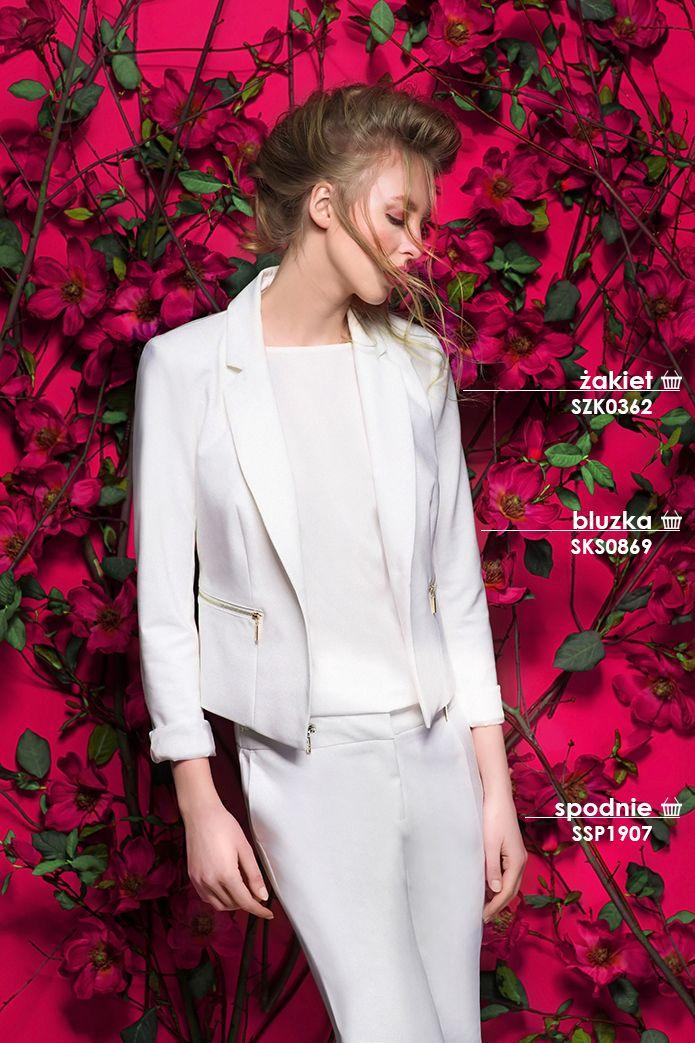 Modny zestaw do pracy: biały żakiet i eleganckie spodnie #topsecret #white