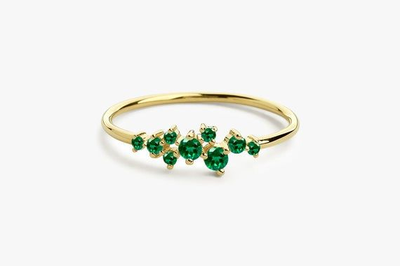 Dainty Promise Ring Natural Tsavorite Garnet Ring Half Eternity Band Ring Engagement Ring Mother/'s Day Gift For Mom Solid 925 Silver