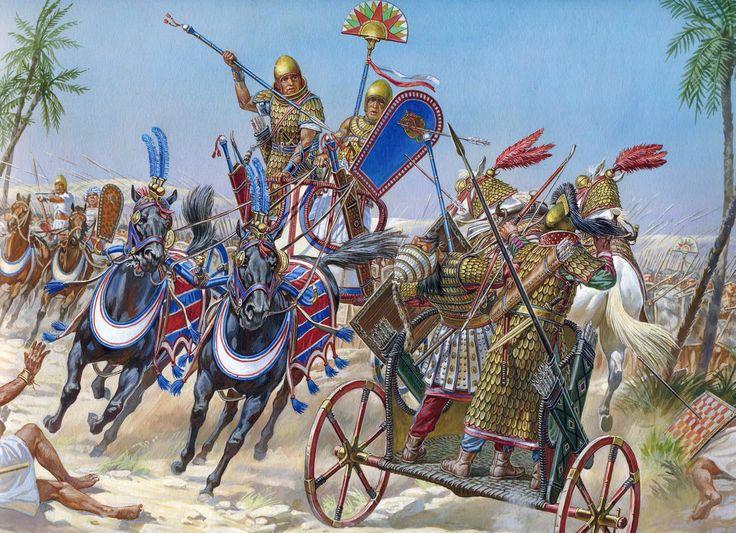 Battle of Megiddo (1457 BC). The pharaoh Thutmose III in his car during the battle, Igor Dzis