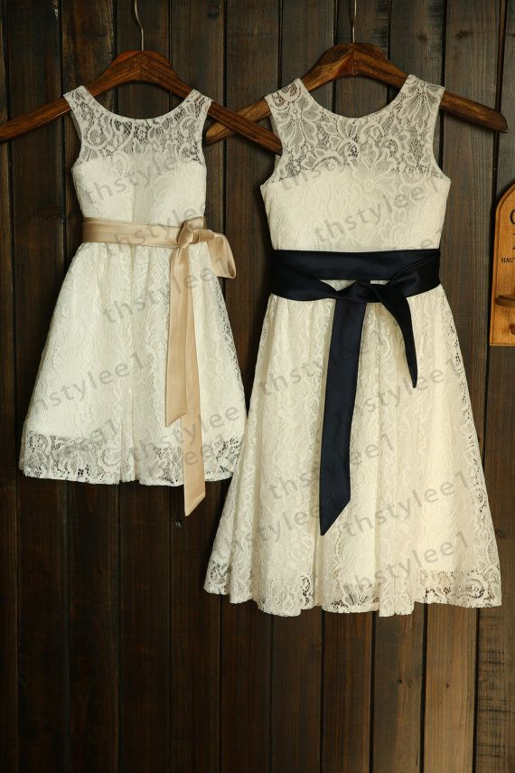 Lace Flower Girl Dress with Champagne/Navy Blue Sash Wedding Children Easter Bridesmaid Communion Baptism Dress