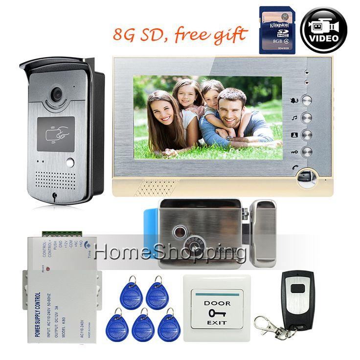 """GRATIS PENGIRIMAN Baru 7 """"layar Rekaman Video Pintu Telepon Sistem Interkom + Luar RFID Akses Pintu Kamera + Listrik Lock + 8G SD"""