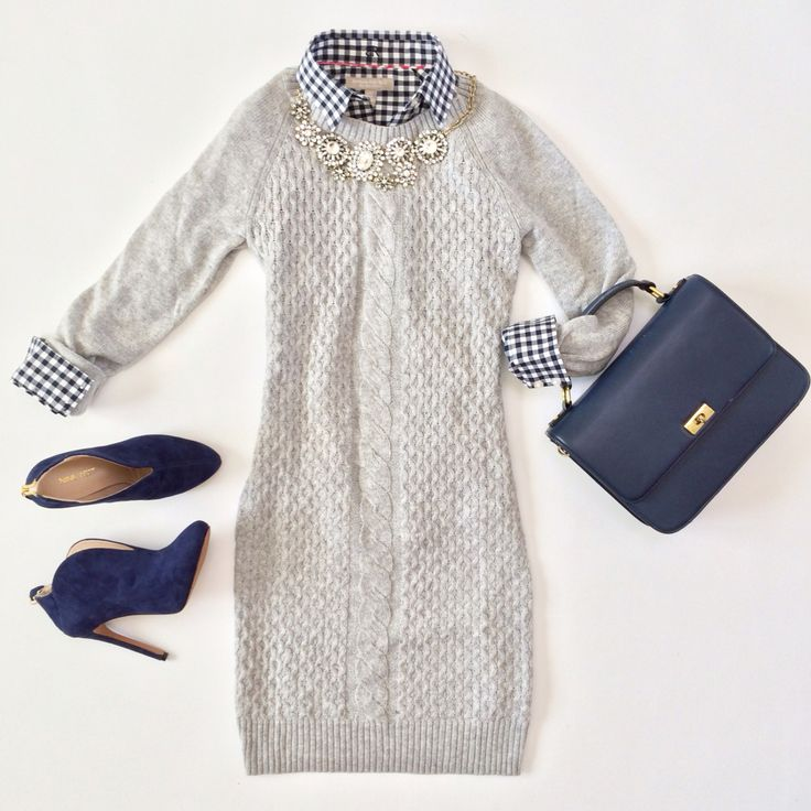 Gray sweater dress - navy purse - gingham shirt - necklace - blue suede booties | StylishPetite.com