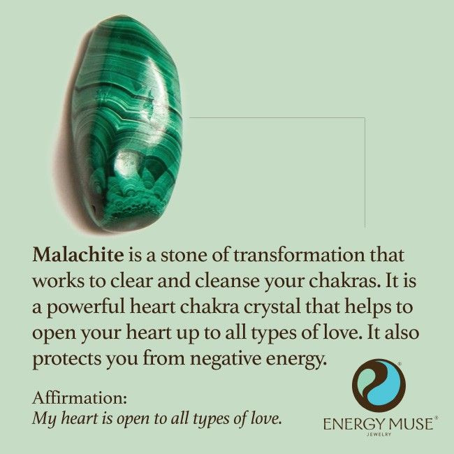 Malachite is a stone of transformation that works to clear and cleanse your chakras. It is a powerful heart chakra crystal that helps to open your heart to all types of love. It also protects you from negative energy. #malachite #crystals #healing