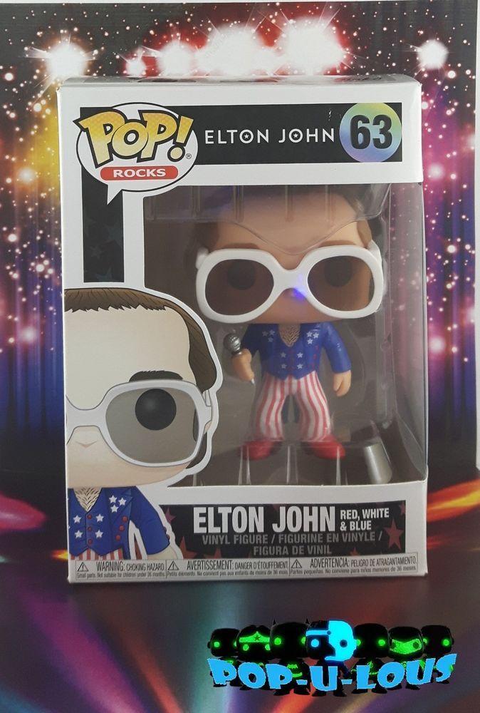 ROCKS ELTON JOHN 63 Elton John red White /& Blue FUNKO Pop
