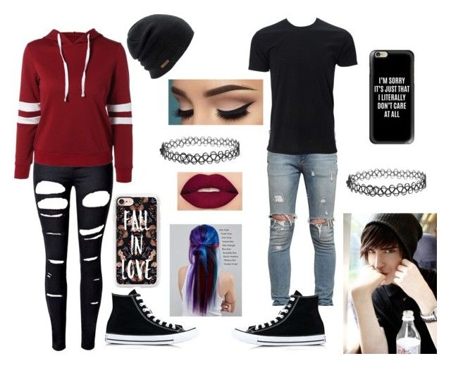 """loving emo copule"" by ashley-barnhart ❤ liked on Polyvore featuring WithChic, Converse, RtA, Coal, Manic Panic NYC, Casetify and Smashbox"