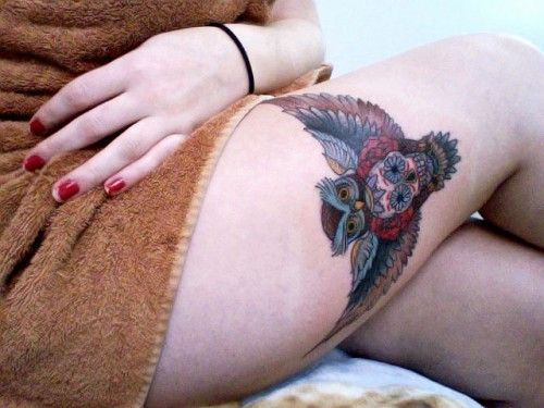 Owl Thigh Tattoo Design