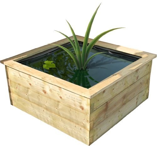 Small Robust Raised Wooden Fish Pond Outdoor Feature Liner