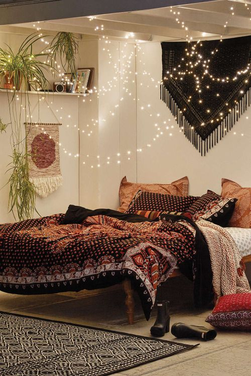 I love this bedroom, especially the fairy lights located above the bed. It gives the room a sense of peace and tranquility.