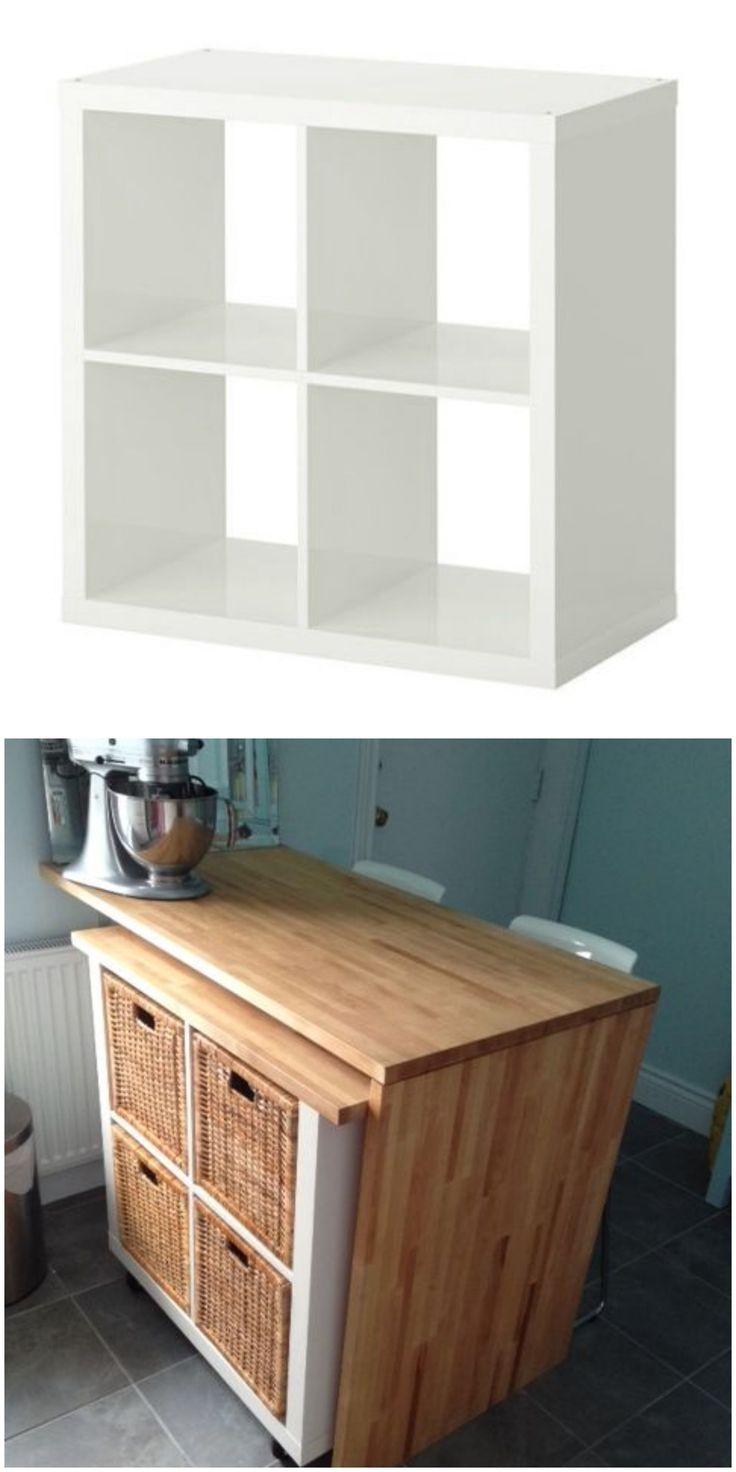 Use this IKEA hack to turn a Kallax bookshelf into rolling kitchen storage.