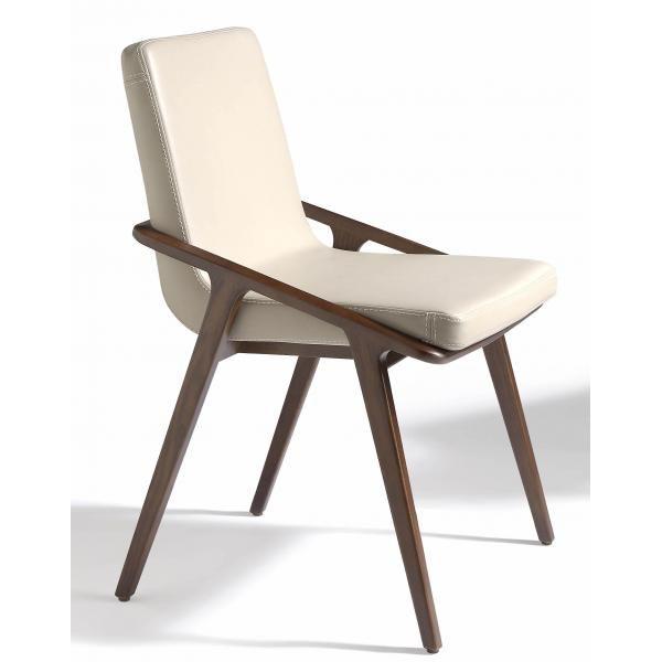 Chaise moderne Bois noyer et Simili cuir Leva