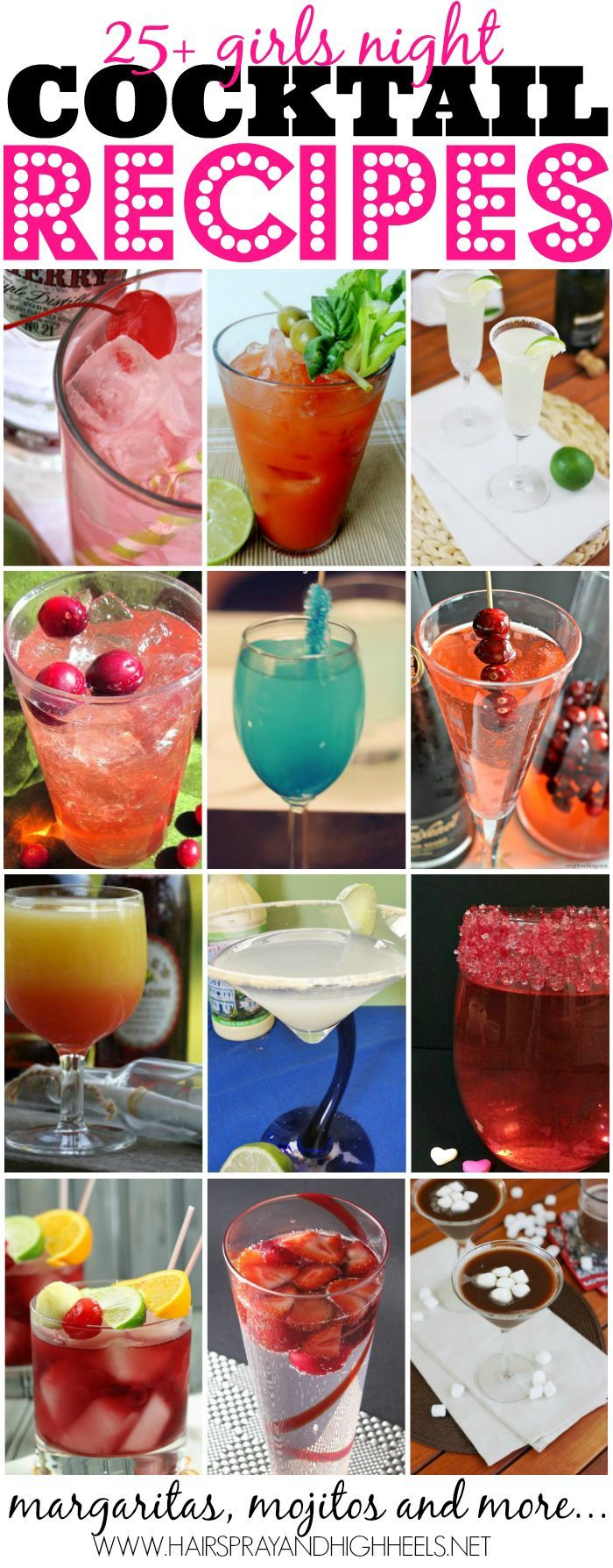25 Girls Night Cocktail Recipes  via www.hairsprayandhighheels.com @Krista McNamara McNamara McNamara McNamara Knight and HighHeels