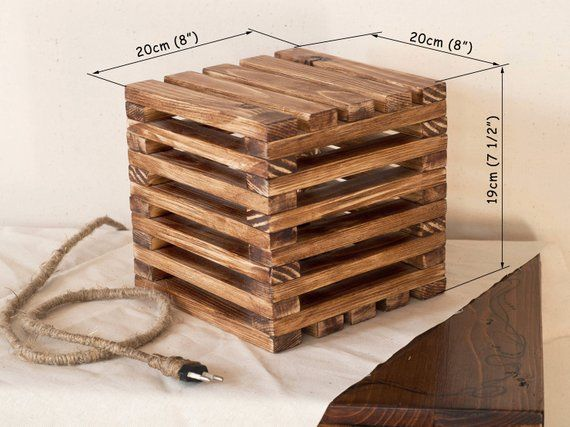 Wood lamp, Wooden lamp, Table lamp, Rustic light, Geometric light, Wood cube lamp, Wood lighting, Natural wood light, Desk light