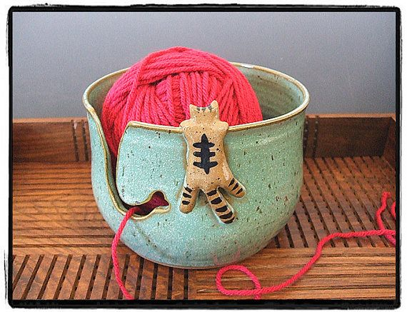 I wish I could knit, then I could have this yarn bowl!  Large Yarn Bowl with Cute Tabby Cat in Turquoise by misunrie