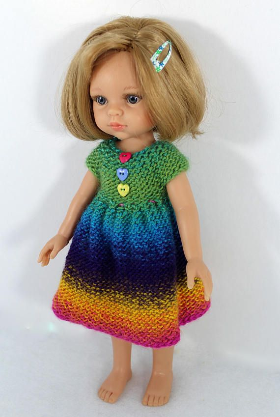 Knitted dress  for Paola Reina doll 12/32 cm. Dress