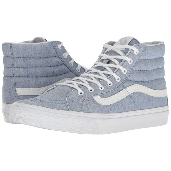 Vans SK8-Hi Slim ((Speckle Jersey) Blue/True White) Skate Shoes ($70) ❤ liked on Polyvore featuring shoes, sneakers, leather high tops, high-top sneakers, blue high top sneakers, vans high tops and blue leather sneakers