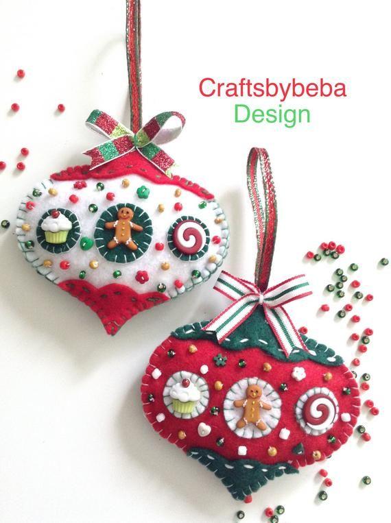 Gingerbread Felt Ornaments / Christmas Tree Ornaments / Xmas