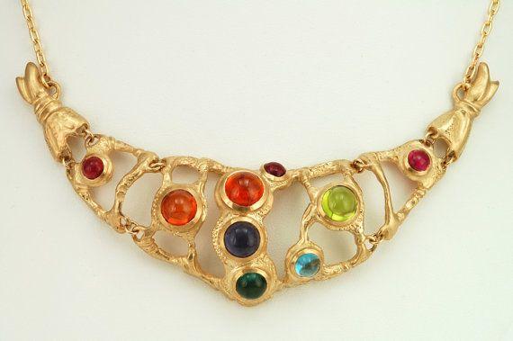 Big gemstone gold necklace 14 K by FineJewelryAS on Etsy, $8500.00