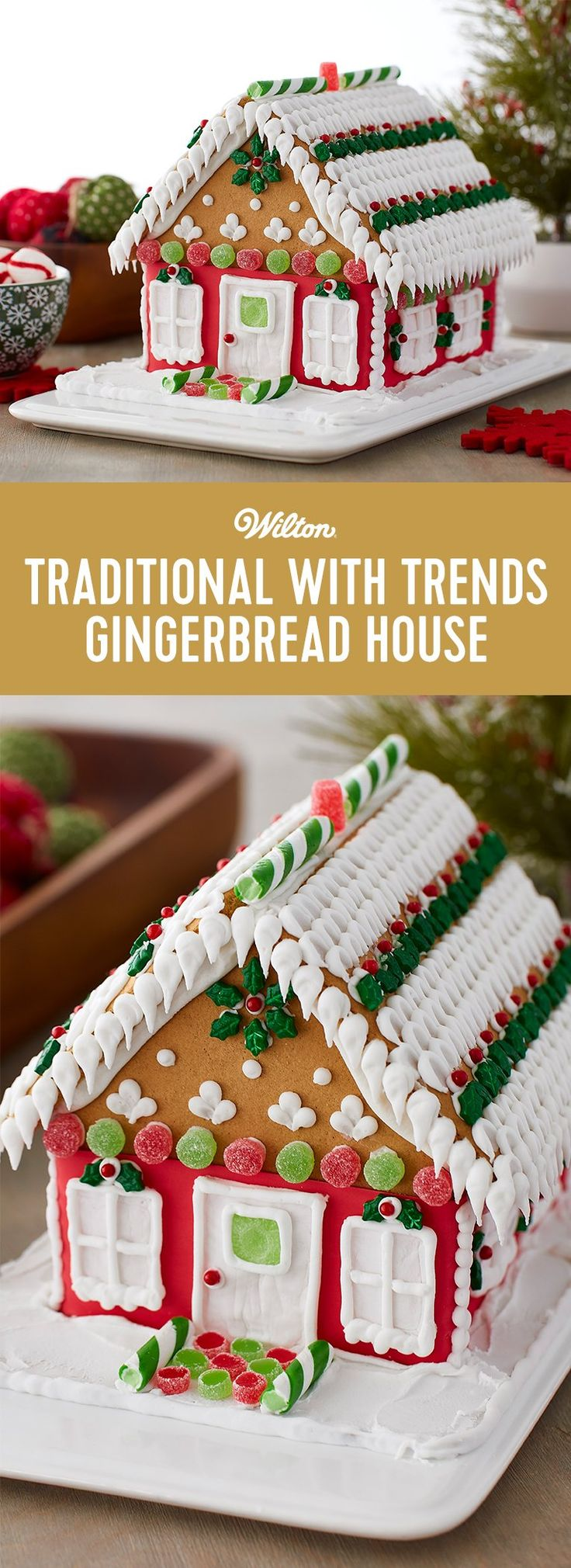 Traditional with Trends Gingerbread House - This gingerbread house kit may be traditional in architecture, but the icing techniques and colorful candy decorating adds trendy style and excitement to the designs. Decorate this house with the kids for a fun Christmas project, and to display on your holiday table. #gingerbread #gingerbreadhouse #christmas #wiltoncakes