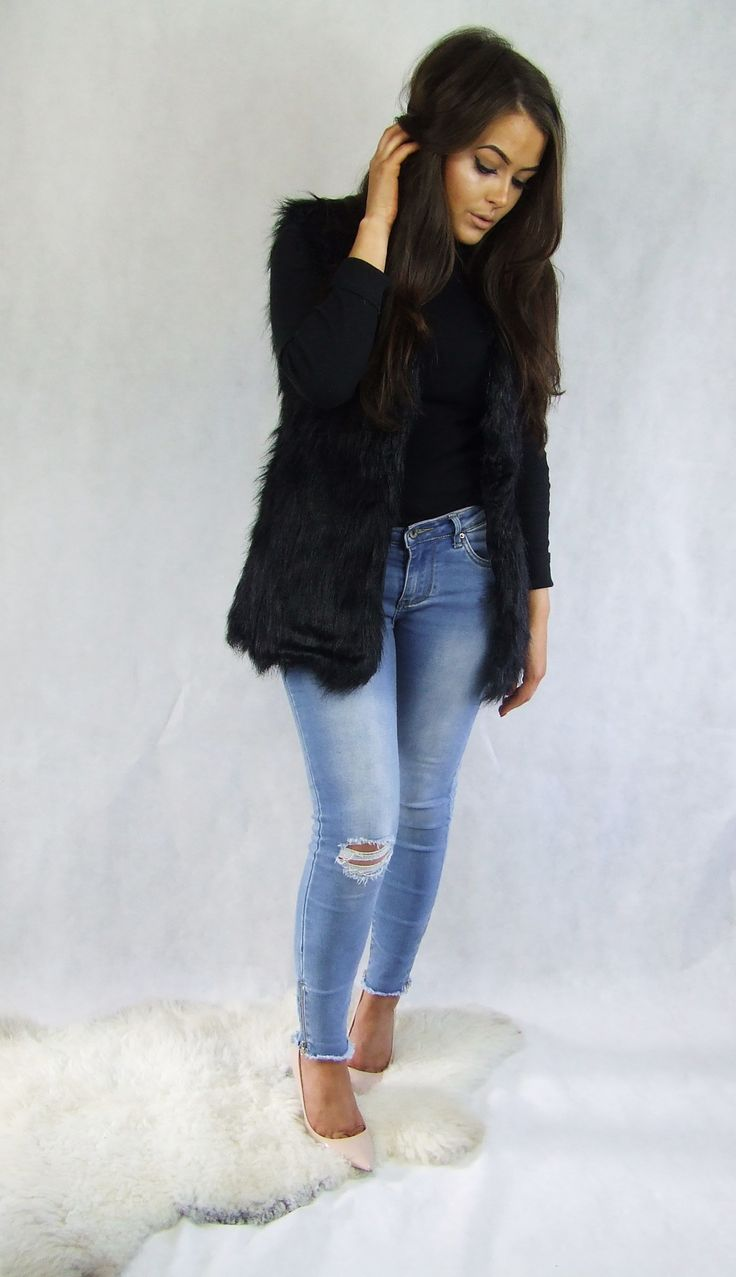 Soft Black Faux Fur Gilet