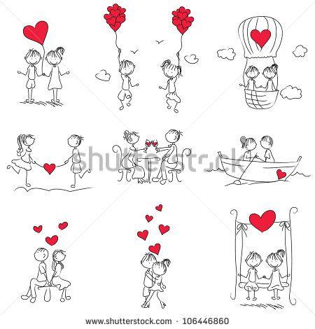 cartoon couple doodle with red heart shape – Kaufen Sie diese Vektorgrafik bei Shutterstock und finden Sie weitere Bilder.