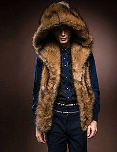 Manteau en Fourrure Hommes,Couleur Pleine Décontracté / Quotidien Sans Manches Fausse Fourrure Fourrure de renard Hiver