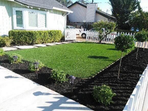 Project: Campbell, CA Front Yard Synthetic Grass & Ground Cover