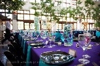 i love how simple but yet really pretty Purple & turquoise tables