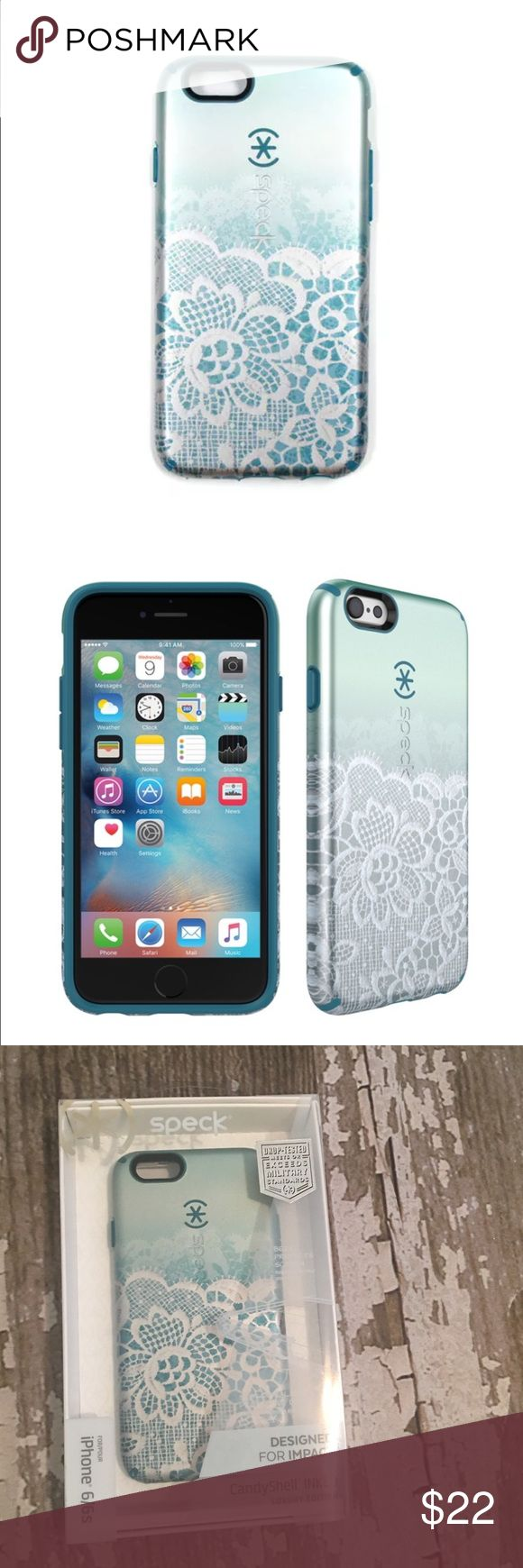 NEW Speck IPhone 6 6S Inked Candyshell Case NEW Speck IPhone 6 6S Candyshell Inked, Luxury Special Edition Cover/Case. Scalloped Lace/Atlantic Blue. Makes a great stocking stuffer Bundle to Save More! speck Accessories Phone Cases
