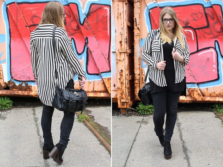 Outfit with Stripes Bluse - #veromoda Hose - #noisymay Tasche - #sheinside Schuhe - #chelseaboots