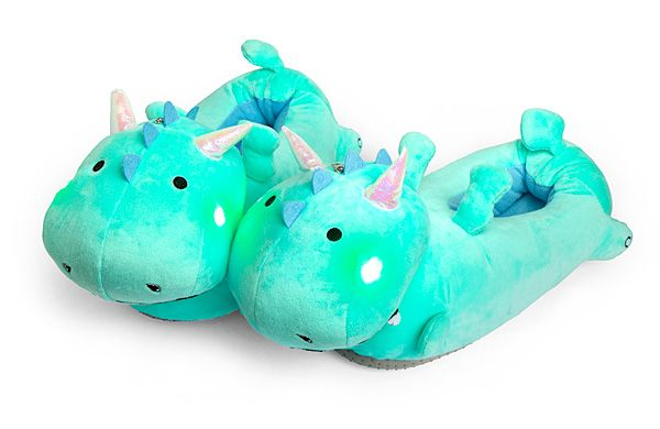 This pair of fat adorable dragons are ready to serve you, keeping your toesies warm and lighting your way forward with their light-up cheeks! Better that they warm your feet this way, instead of using their fire breath. That probably wouldn't go so well.