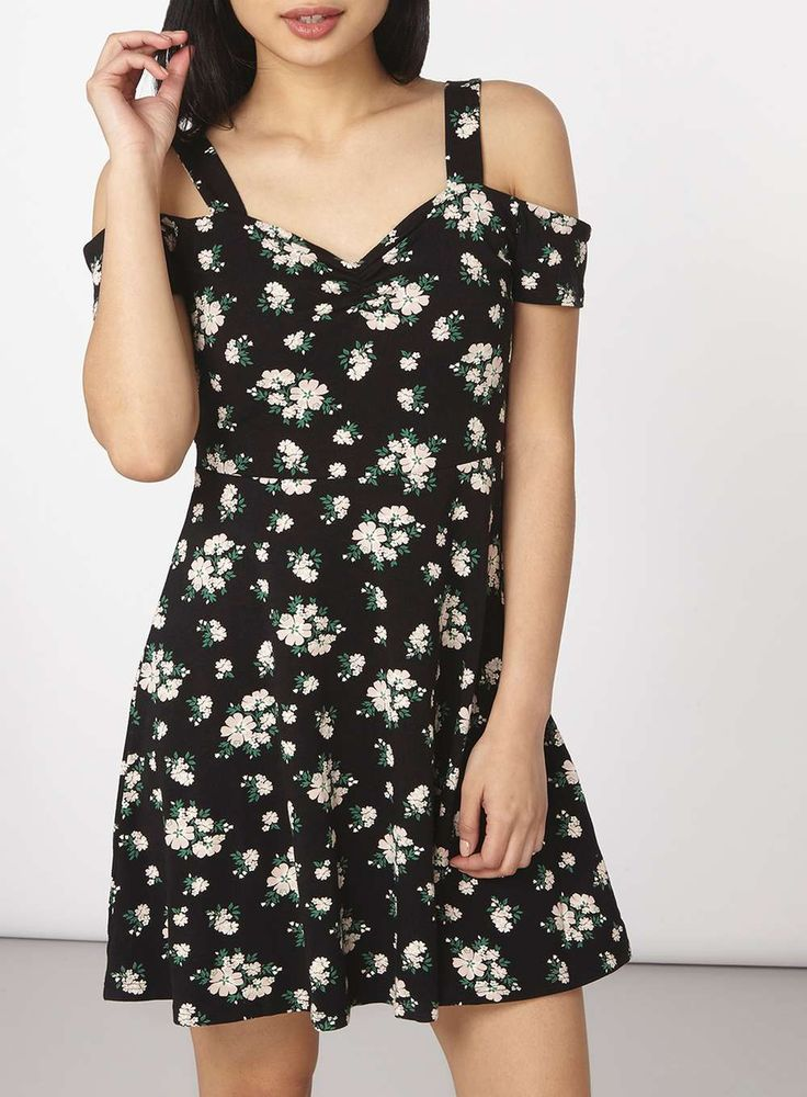 Womens Petite Black Ditsy Jersey Dress- Black