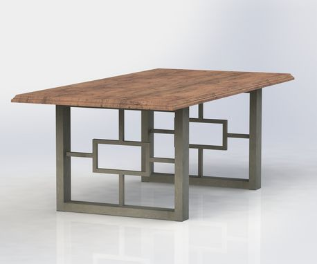 custom made metal table legs with glass top