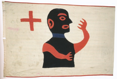 Most likely the Te Whaiti version of the flag of Te Whitu Tekau, c.1874 (Binney, Encircled Lands, p.241)