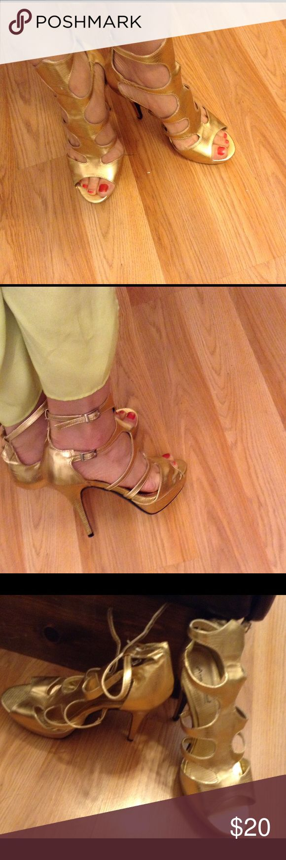 Anna Michelle gold strapped heels 9 Anna Michele gold strapped heels 9 . New Anne Michelle Shoes Heels